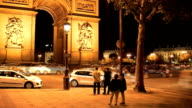 Arc de Triomphe at night video