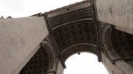Arc De Triomphe on a cloudy day. Slow pan under the Arc. Left to right. video