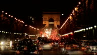 Arc de Triomphe traffic at night video