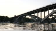 4K: Arch bridge at dusk video