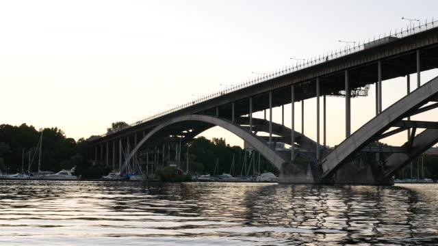 Arch bridge at dusk video