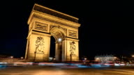 Arch Of Triumph by Night, Timelapse, Traffic, Paris video