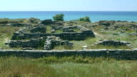 Archaeological excavations ruins of ancient Greek settlement Belyaus video