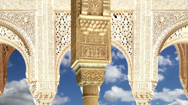 Arches in Islamic (Moorish)  style in Alhambra, Granada, Spain video