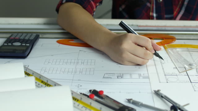 Architect drawing on structure plan video