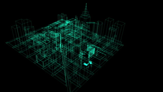 Architectural blueprint of contemporary buildings wireframe HD video