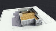 Architectural drawing changed three-dimensional house. video
