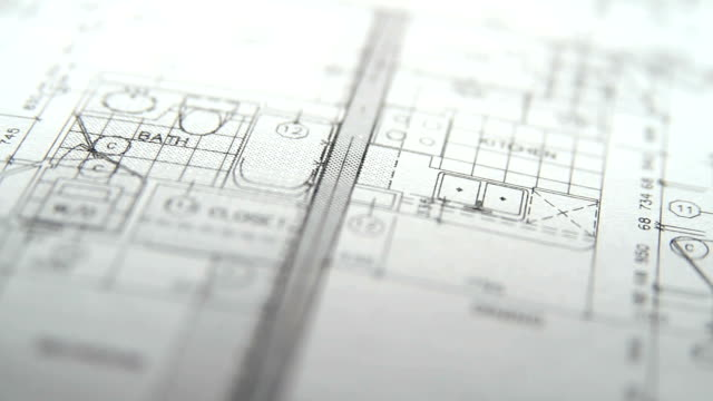 Architectural plans pan left to right video
