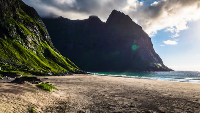 Arctic Beach Kvalvika at the Lofoten Islands in Norway video