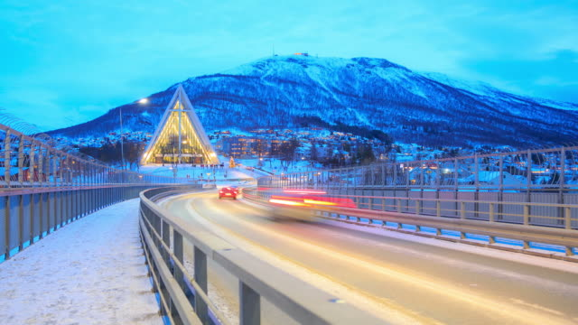 Arctic Cathedral action in winter at dusk, Tromso Troms, Norway video