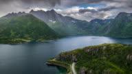 AERIAL: Arctic Fjord at Lofoten Islands, Norway video