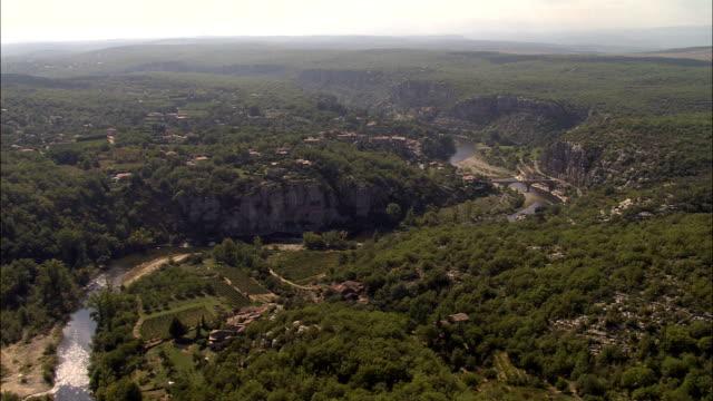 Ardeche Gorge And River  - Aerial View - Rhône-Alpes, Ardèche, France video