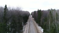 areal veiw car on an empty road video