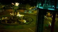 BARCELONA, SPAIN: Arenas de Barcelona and Plaza de Espana in the night, time lapse video