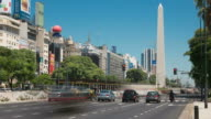 Argentina Buenos Aires Obelisk with traffic at rush hour video