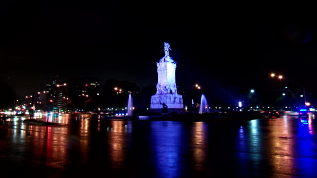 Argentina Buenos Aires street traffic night time lapse video