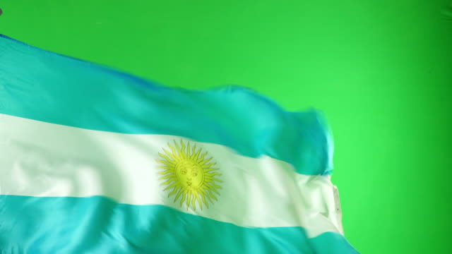 4K: Argentina Flag on green screen - Real video, not CGI video
