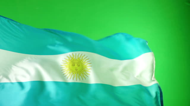 Argentina Flag on green screen - Super Slow Motion video