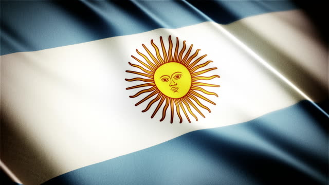 Argentina realistic national flag seamless looped waving animation video