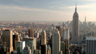 Arial city view with Empire State Building in NYC video