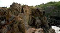 Arial Pan of Cliffs at the edge Ocean Nature Background video