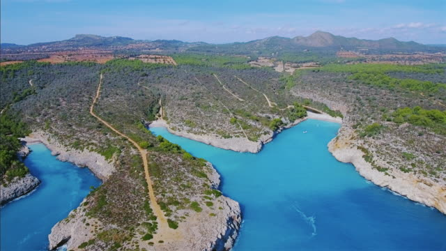 Arial View of calas of east coast on Spanish Balearic island of Majorca / Spain video