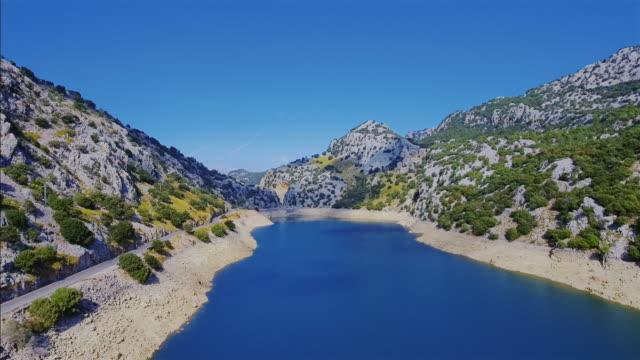 Arial View of Gorg Blau artificial reservoir Serra de Tramuntana , Majorca video