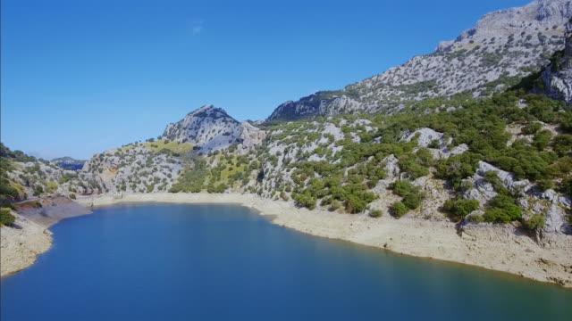 Arial View of Gorg Blau artificial reservoir Sierra de Tramuntana , Majorca / Spain video
