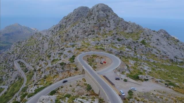 Arial View of Hairpin turn ' Nus de sa Corbata - Krawattenknoten ' to Sa Calobra - Serra de Tramuntana video