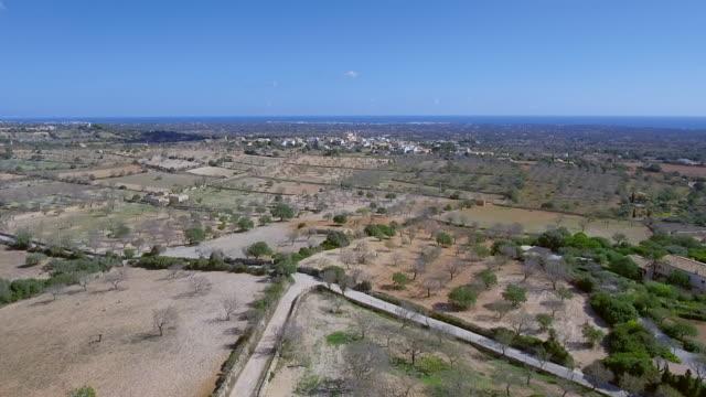 Arial View of Majorca Coastal Plain near by Santuario de la Consolación - S'Alqueria Blanca - Santanyí / Balearic Islands, Spain video