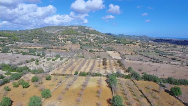 Arial View of Majorca plains near by Santuario de la Consolación - S'Alqueria Blanca - Santanyí / Balearic Islands, Spain video