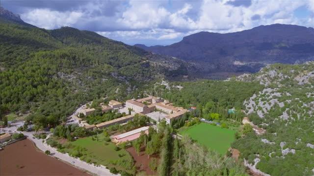 Arial View of monastery Santuari de Lluc / Escorca on Mountain Range Serra de Tramuntana , Majorca / Spain video