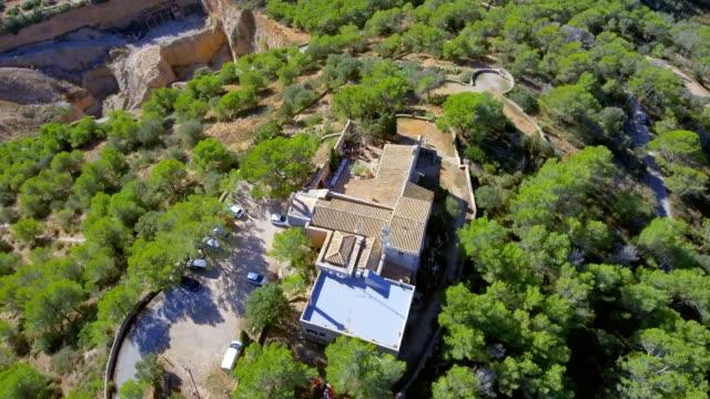 Arial View of monastery Santuario de la Consolacion (Consolation Sanctuary) , Majorca / Spain video