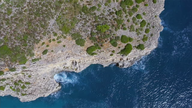 Arial View of rocky costline and bay on Spanish Balearic island of Majorca / Spain video