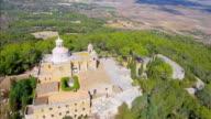 Arial View of Santuari /  Ermita de Bonany near by Petra , mountain with monastry on Majorca / Spain video
