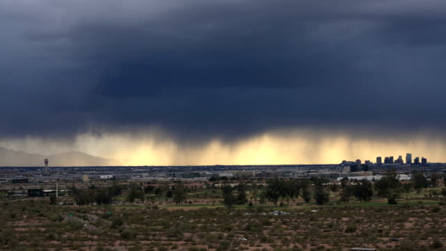 Arizona Skyline in Phoenix during a storm - Time Lapse video