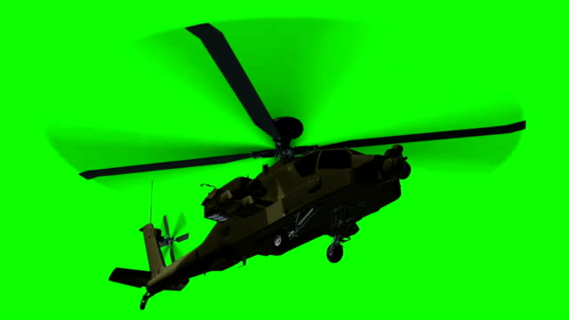 armed Helicopter  Apache in fly - green screen video