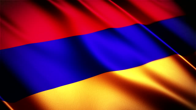 Armenia realistic national flag seamless looped waving animation video