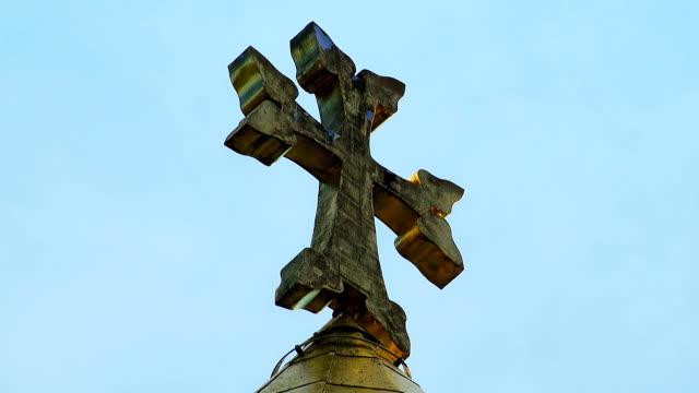 Armenian church cross sky video