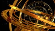 Armillary Sphere And Zodiac Signs. Black Background. video