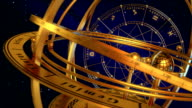 Armillary Sphere And Zodiac Signs. Blue Background. video