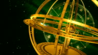Armillary Sphere And Zodiac Signs. Green Background. video