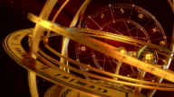 Armillary Sphere And Zodiac Signs. Red Background. video