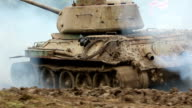 Armoured army tank driving video