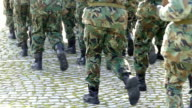 Army Soldiers in Camouflage Marching-slowmotion video