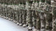 Army Soldiers in line marching at a Military homecoming parade video