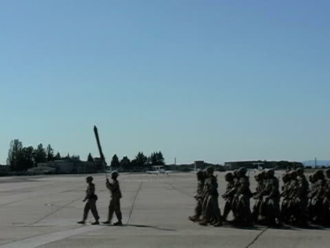 US Army Soldiers marching in formation; 2005 video