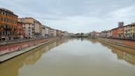 Arno River and Chiesa di Santa Maria della Spina church in Pisa video