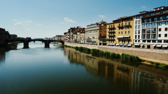 Arno River with bridge. Florence, Italy. 4K 10 bit video video