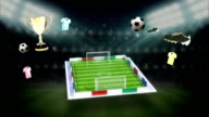 Around Soccer icon, football field, animation(included alpha) video
